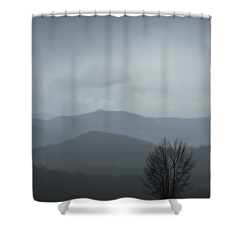 Landscape Shower Curtain featuring the photograph Misty Mountain by Zoran Berdjan