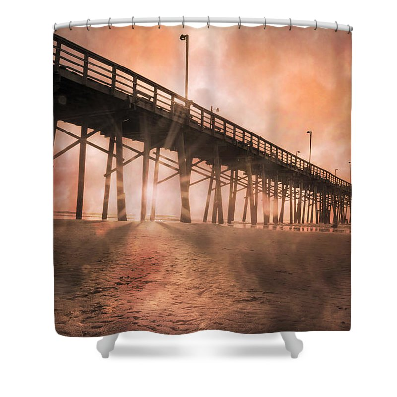 Topsail Shower Curtain featuring the photograph Misty Sunrise by Betsy Knapp