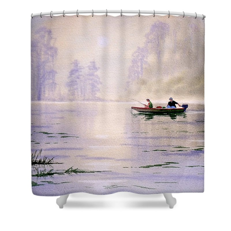 Banks Lake Shower Curtain featuring the painting Misty Sunrise On The Lake by Bill Holkham