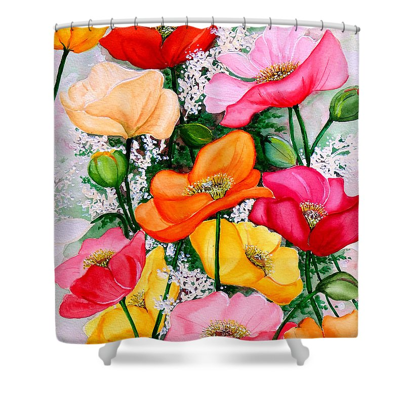 Poppies Shower Curtain featuring the painting Mixed Poppies by Karin Dawn Kelshall- Best