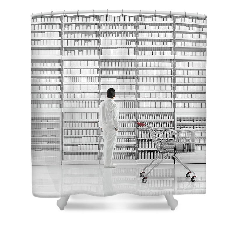 Internet Shower Curtain featuring the photograph Mixed Race Man Shopping On White by Colin Anderson Productions Pty Ltd