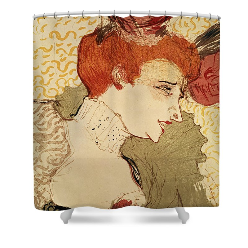 Red Hair Shower Curtain featuring the painting Mlle Marcelle Lender by Henri de Toulouse-Lautrec
