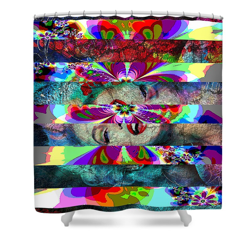 Theo Danella Shower Curtain featuring the painting Mm Flower by Theo Danella
