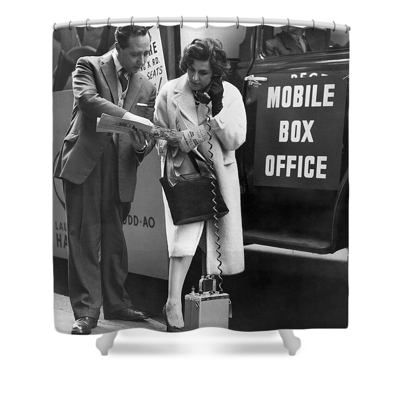 1950s Shower Curtain featuring the photograph Mobile Box Office Phone by Underwood Archives