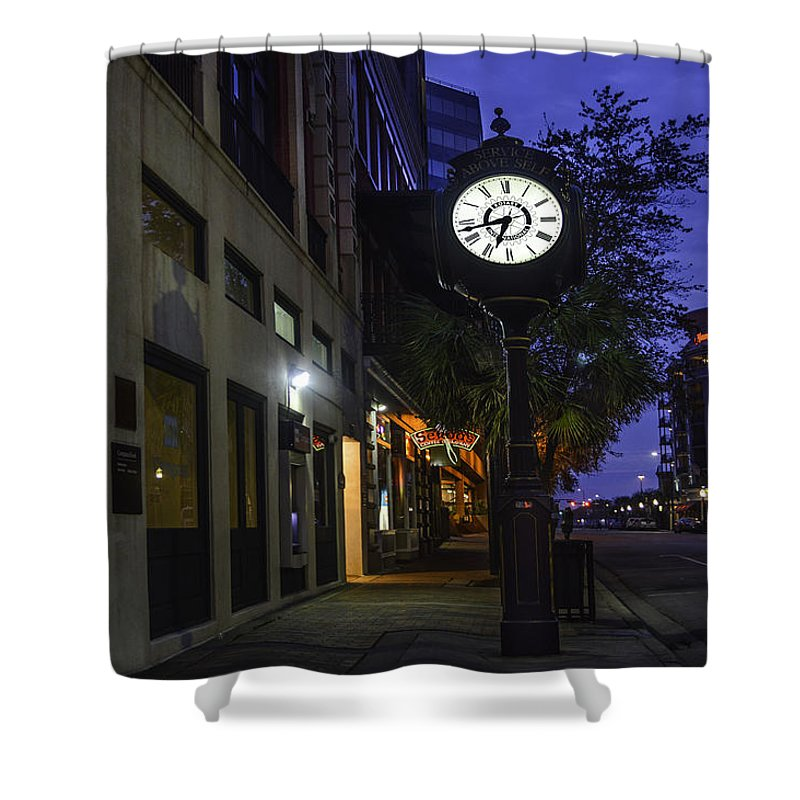 Alabama Shower Curtain featuring the digital art Mobile Clock Service Above Self by Michael Thomas