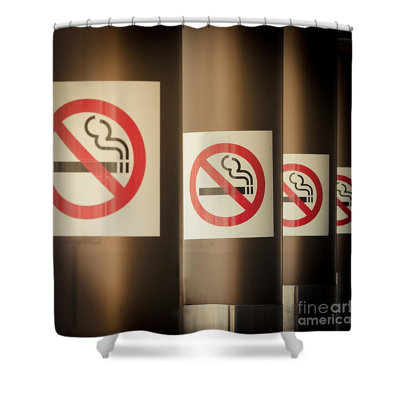 Addiction Shower Curtain featuring the photograph Mobile Photography Toned Row Of No Smoking Signs by Stephan Pietzko