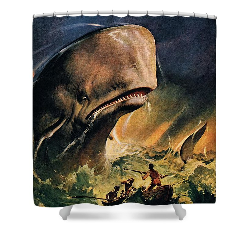 Moby Dick Shower Curtain featuring the painting Moby Dick by James Edwin McConnell