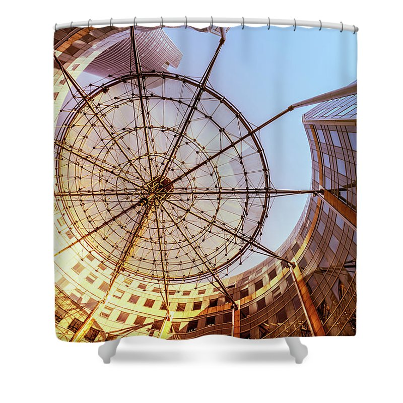 Corporate Business Shower Curtain featuring the photograph Modern Architecture With Sun Shade by Warchi