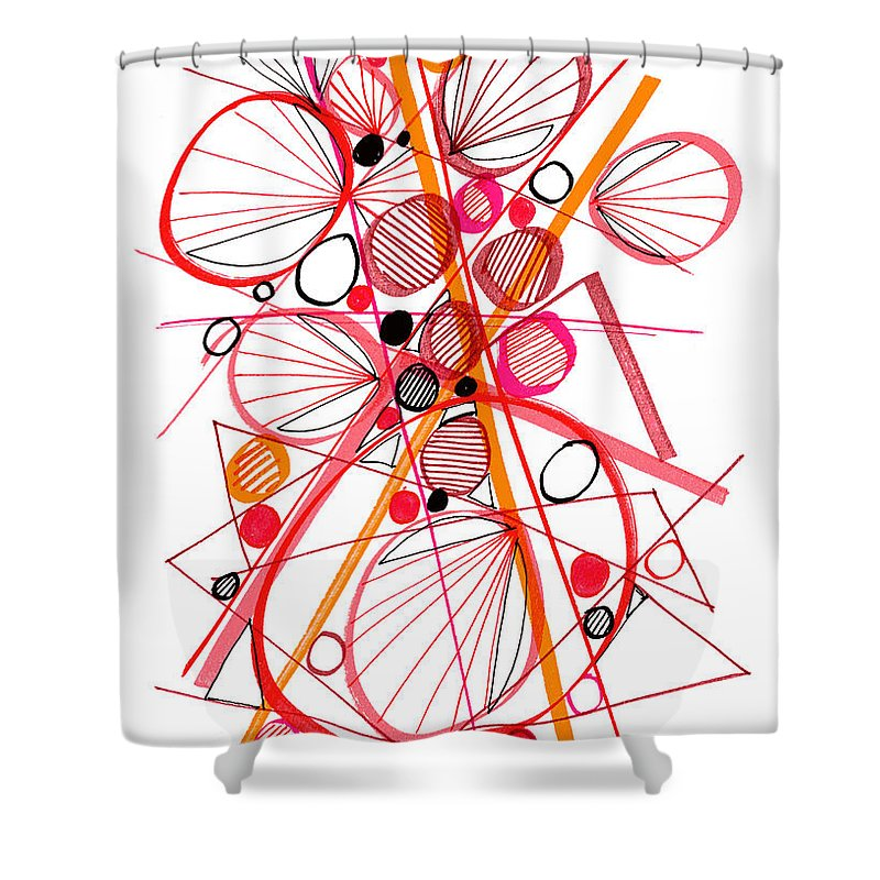 Modern Art Shower Curtain featuring the drawing Modern Drawing Fifty-four by Lynne Taetzsch