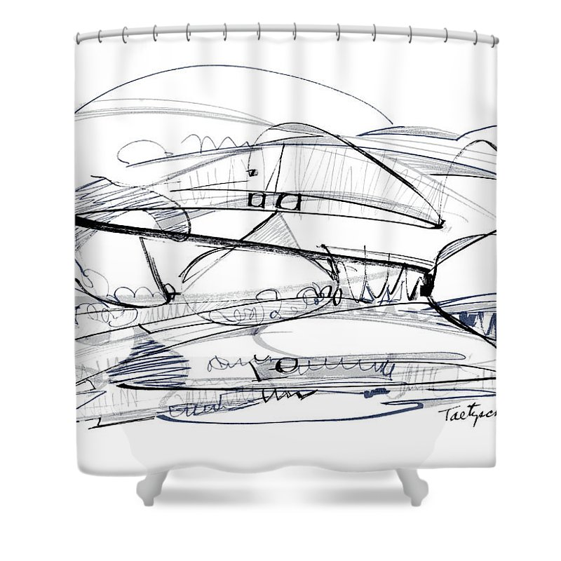 Modern Drawing Shower Curtain featuring the drawing Modern Drawing Seventy-six by Lynne Taetzsch