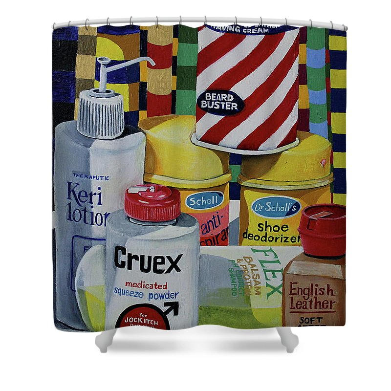 Shaving Cream Shower Curtain featuring the painting Modern Still Life by Don Martinelli