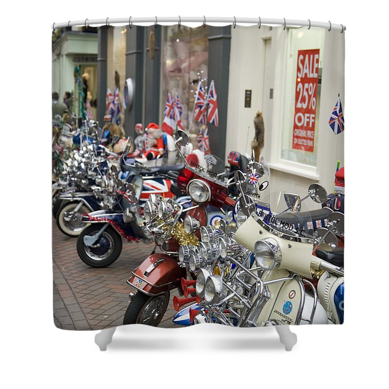 Mods And Rockers Shower Curtain featuring the photograph Mods by Martin Berry