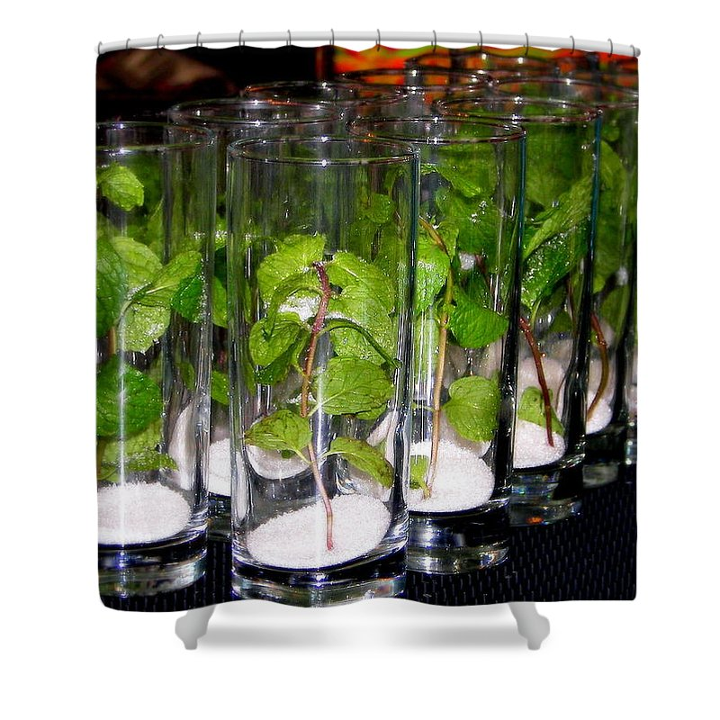 Mojitos Shower Curtain featuring the photograph Mojitos In The Making by Karen Wiles