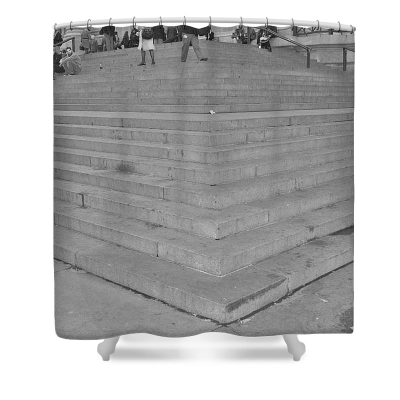 Scenic Shower Curtain featuring the photograph Moma Stairs In Black And White by Rob Hans