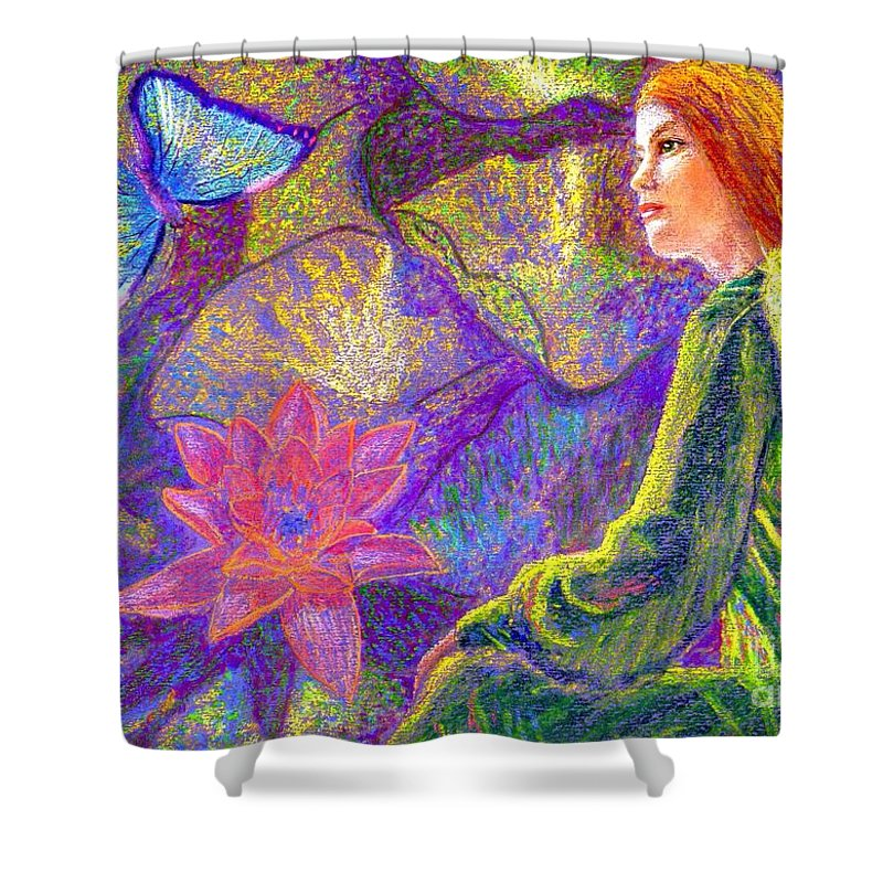 Abstract Shower Curtain featuring the painting Meditation, Moment of Oneness by Jane Small