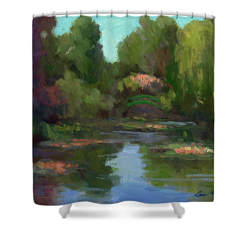 Monet Shower Curtain featuring the painting Monet's Water Lily Pond by Diane McClary