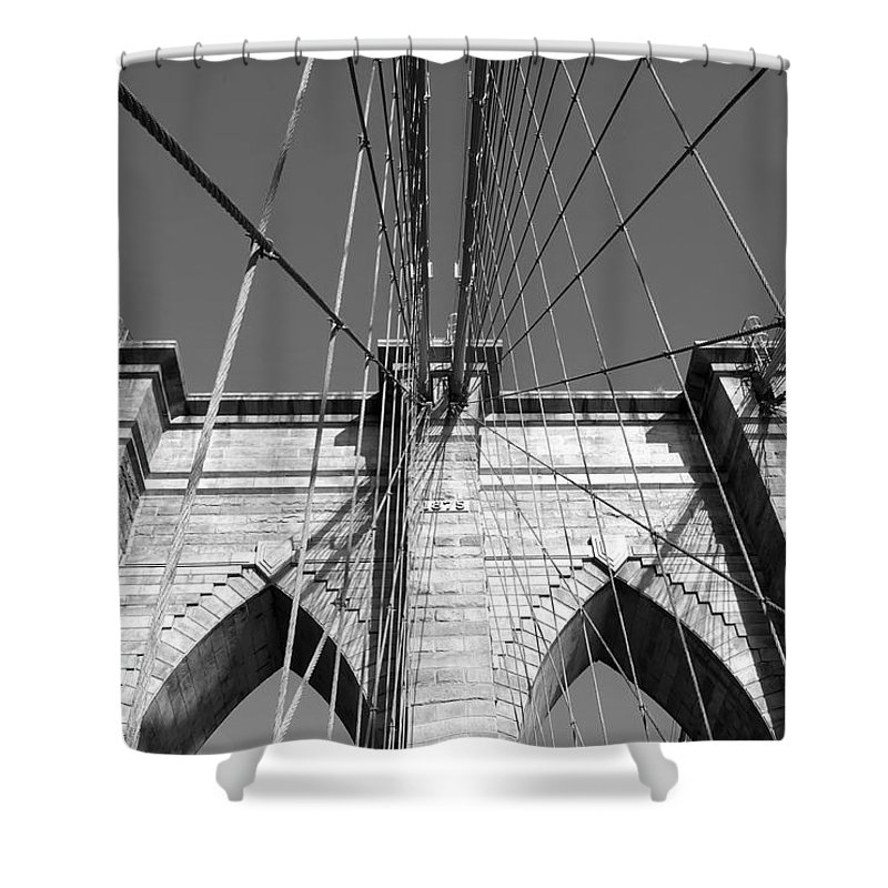 Construction Shower Curtain featuring the photograph Monochromatic View Of Brooklyn Bridge by Jaroslav Frank