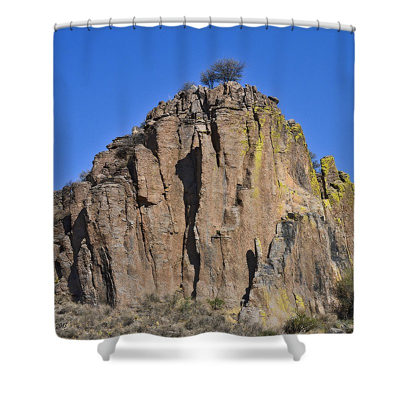High Desert Shower Curtain featuring the photograph Monolith At Indian Lodge by Allen Sheffield