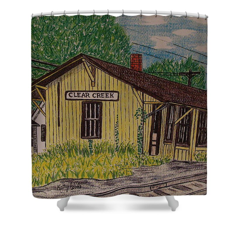 Monon. Monon Train Shower Curtain featuring the painting Monon Clear Creek Indiana Train Depot by Kathy Marrs Chandler