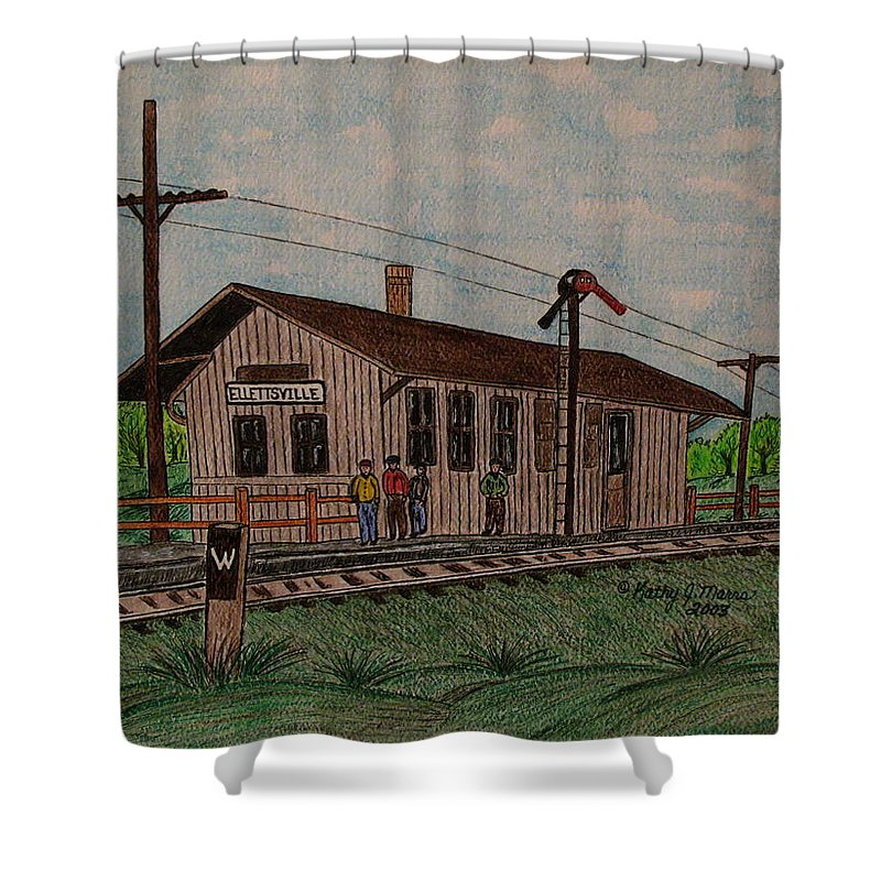 Monon Shower Curtain featuring the painting Monon Ellettsville Indiana Train Depot by Kathy Marrs Chandler