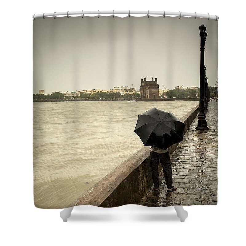 People Shower Curtain featuring the photograph Monsoon In Mumbai by Frank Bunnik