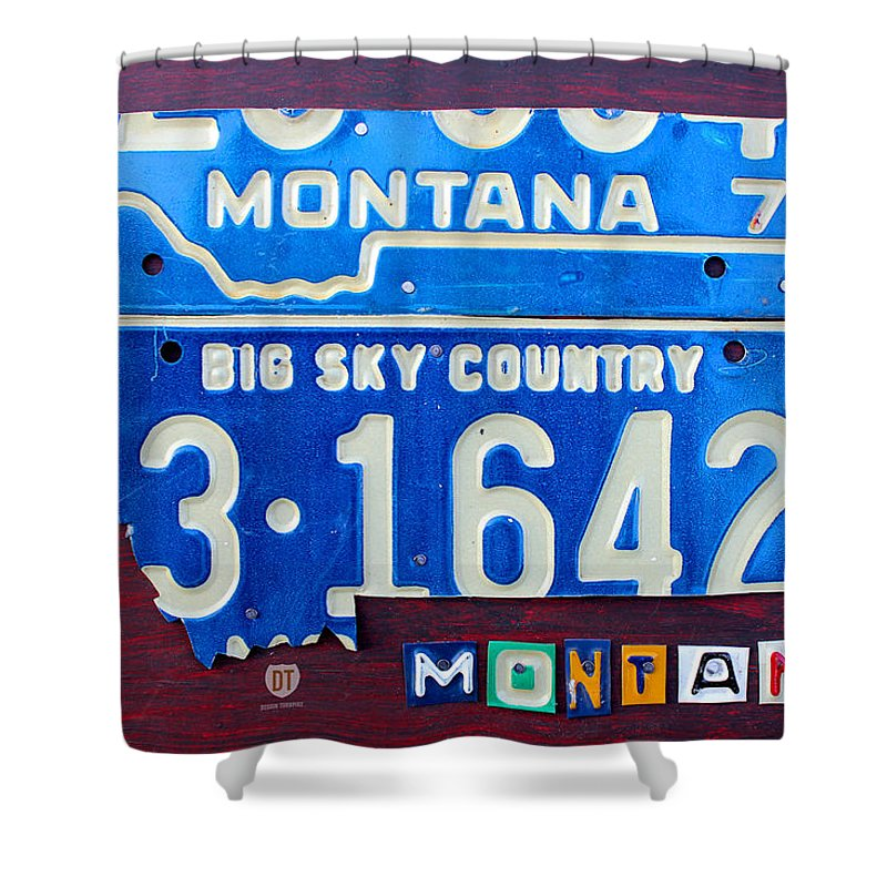 License Plate Map Shower Curtain Featuring The Mixed Media Montana By Design Turnpike