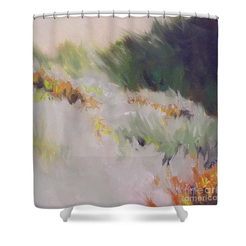 Monterey Shower Curtain featuring the painting Monterey Dunes by Mary Hubley