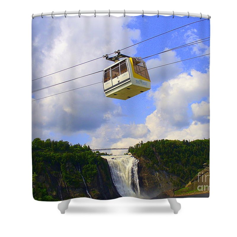 Nature Shower Curtain featuring the photograph Montmorency Falls And Gondola by Lingfai Leung