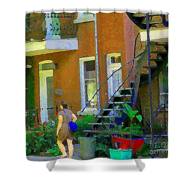 Montreal Shower Curtain featuring the painting Montreal Art Summer Stroll By Blue Winding Staircase Verdun Homes Balcony Scene Carole Spandau by Carole Spandau