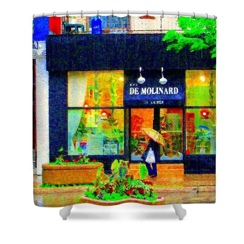 Rain Shower Curtain featuring the painting Montreal Rainy Day Window Shopping Girl With Paisley Umbrella Spa Molinard Laurier Carole Spandau by Carole Spandau