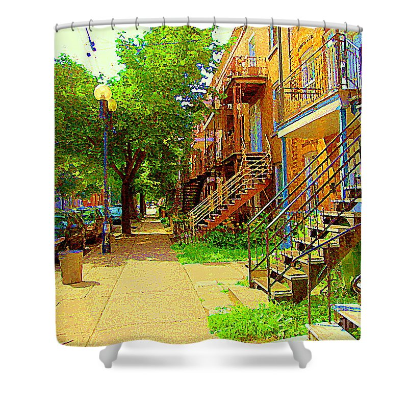 Montreal Shower Curtain featuring the painting Montreal Stairs Winding Staircases And Sunny Tree Lined Sidewalks Verdun Scenes Carole Spandau by Carole Spandau