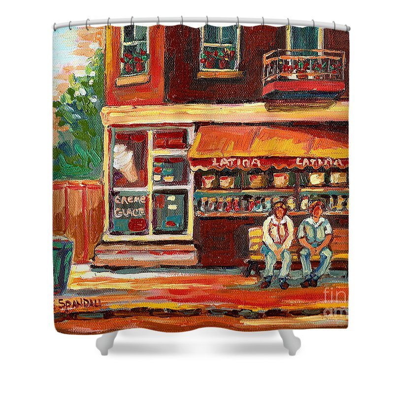 Montreal Shower Curtain featuring the painting Montreal Street Scene Paintings by Carole Spandau