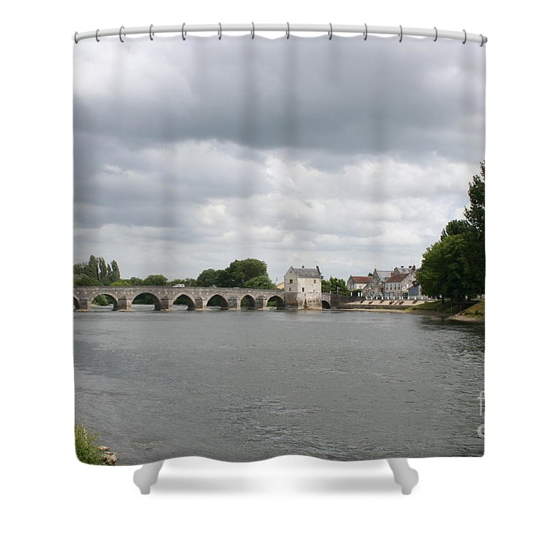 River Shower Curtain featuring the photograph Montrichard Bridge Over Cher River by Christiane Schulze Art And Photography