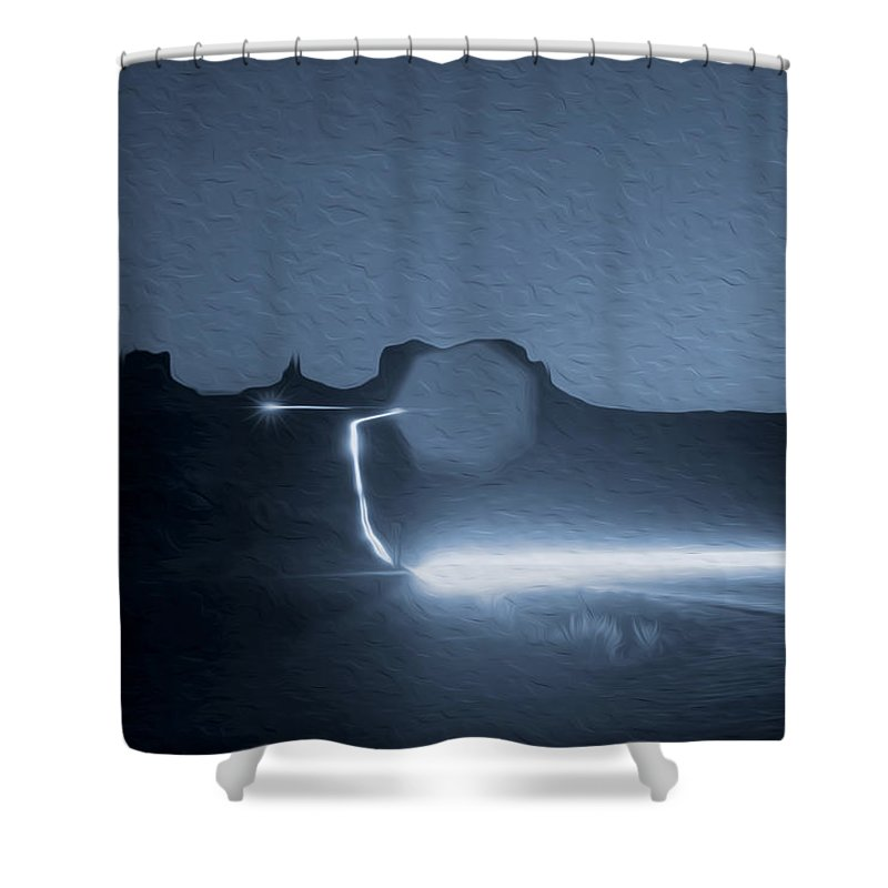 Monument Valley Shower Curtain featuring the photograph Monument Valley At Night 2 by Tracy Winter