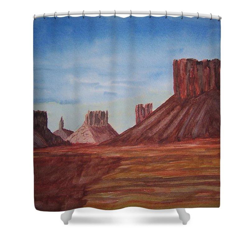 Landscape Shower Curtain featuring the painting Monument Valley by B Kathleen Fannin