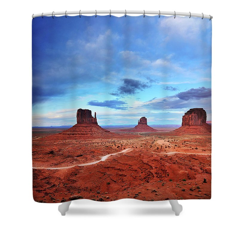 Tranquility Shower Curtain featuring the photograph Monument Valley Cool Light After Sunset by Utah-based Photographer Ryan Houston