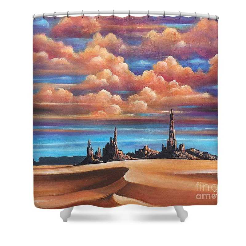 Acrylics Shower Curtain featuring the painting Monument Valley by Artist ForYou