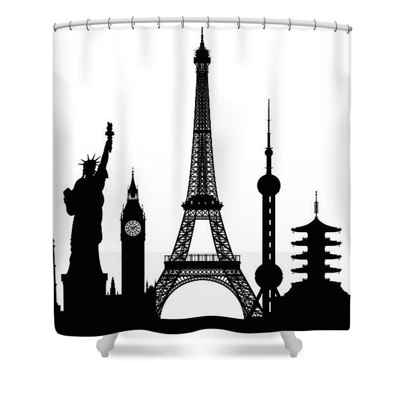 Clock Tower Shower Curtain featuring the digital art Monuments Buildings Are Complete And by Leontura
