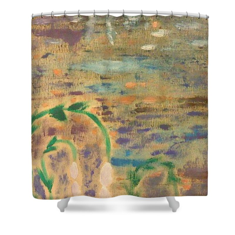 Landscape Shower Curtain featuring the painting Moon Flowers by Jill Ledet