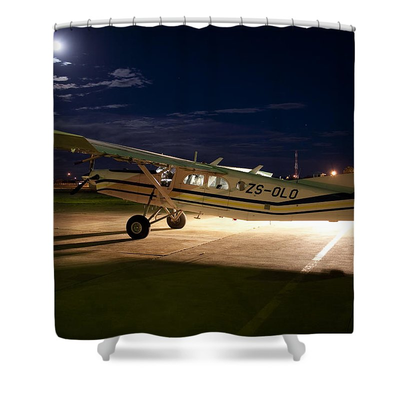 Pilatus Pc 6 Porter Shower Curtain featuring the photograph Moon Light by Paul Job