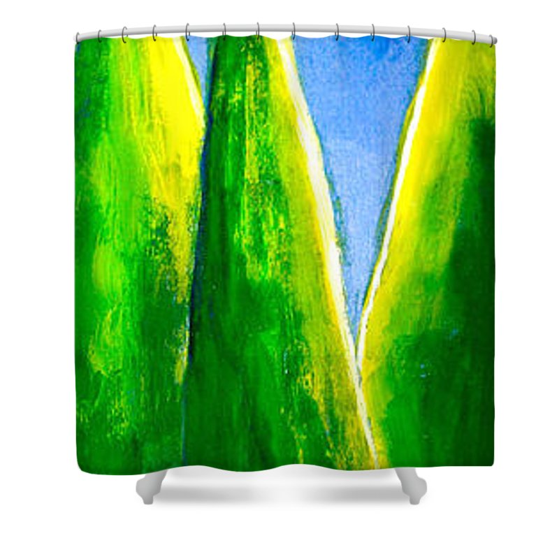 Abstract Shower Curtain featuring the painting Moon-lit Night by Nirdesha Munasinghe