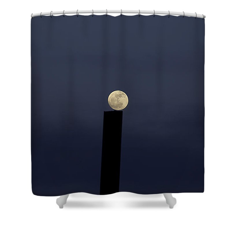 Moon Shower Curtain featuring the photograph Moon On A Post by Fran Riley