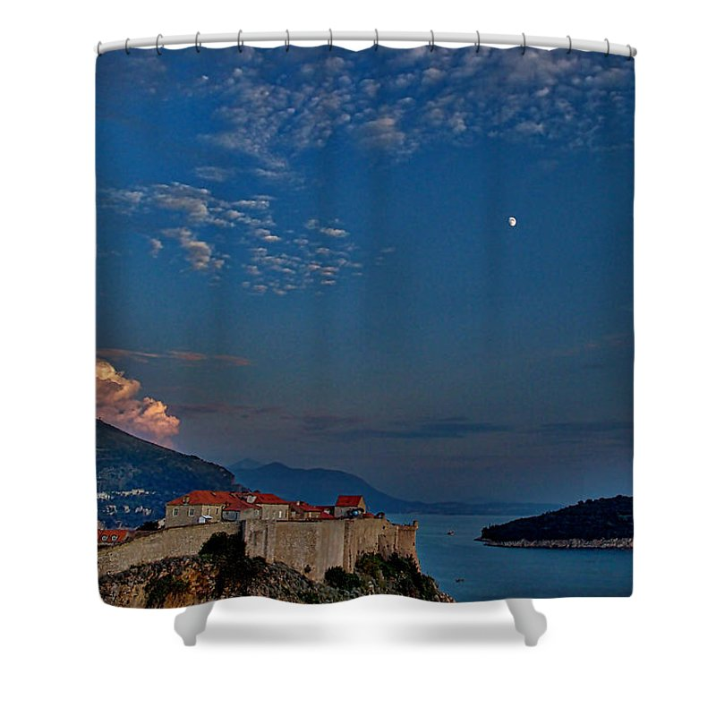 Dubrovnik Shower Curtain featuring the photograph Moon Over Dubrovnik's Walls by Stuart Litoff