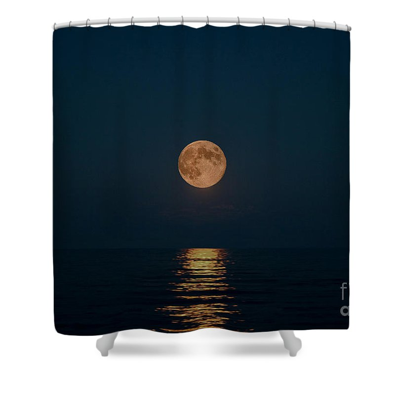 Blue Moon Shower Curtain featuring the photograph Moon Over Lake Of Shining Waters by Barbara McMahon