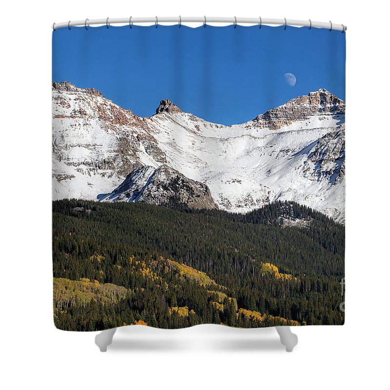 Lizard Head Pass; Moonrise; Moon And Mountains Shower Curtain featuring the photograph Moon Over Lizard Head Pass by Jim Garrison