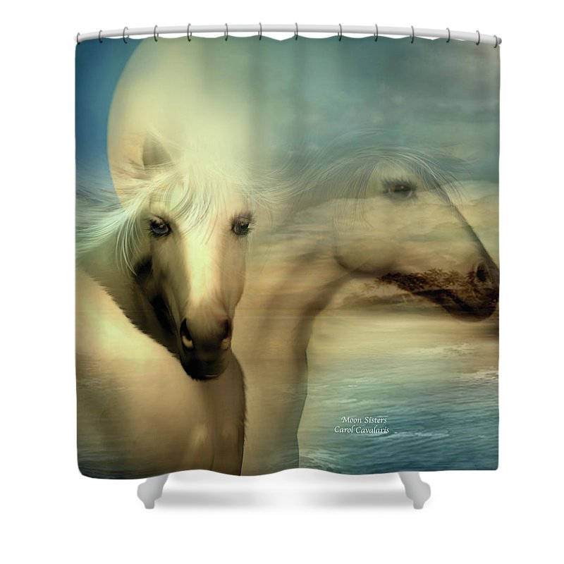 Horse Shower Curtain featuring the mixed media Moon Sisters by Carol Cavalaris