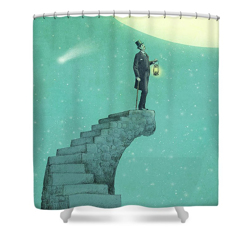 Moon Shower Curtain featuring the drawing Moon Steps by Eric Fan