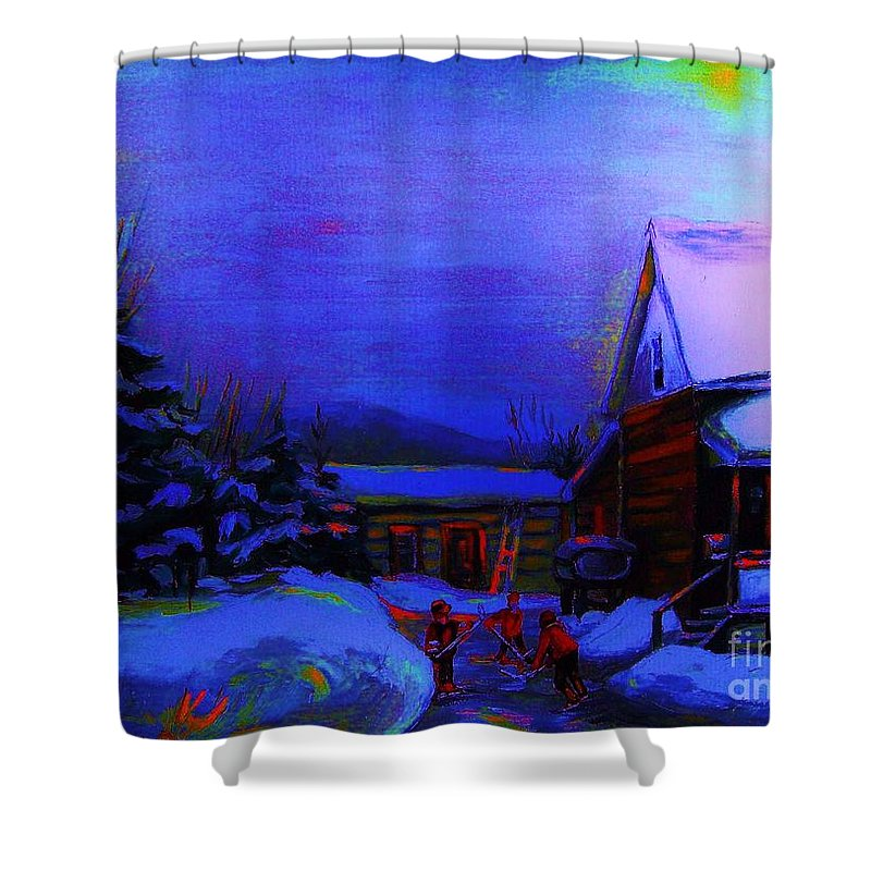 Hockey Shower Curtain featuring the painting Moonglow On Powder by Carole Spandau