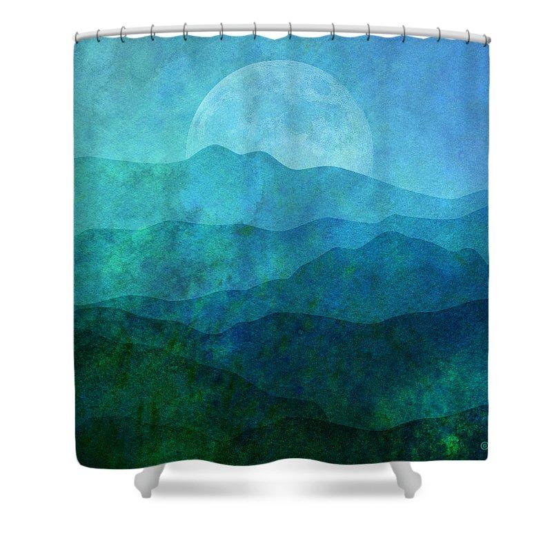 Gary Grayson Shower Curtain featuring the digital art Moonlight Hills by Gary Grayson