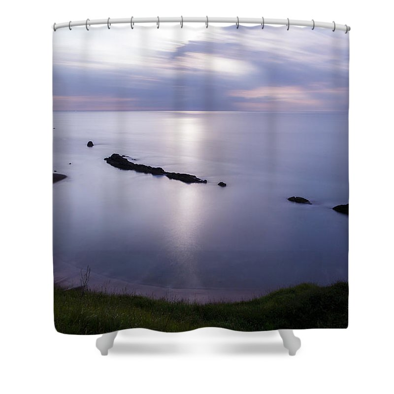 Man Of War Bay Shower Curtain featuring the photograph Moonlight Over Man Of War Bay by Ian Middleton